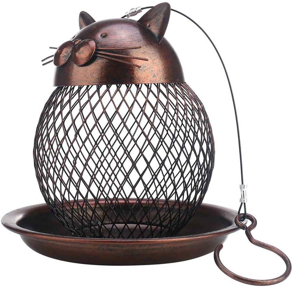 FUWANG Comedero para pájaros con Forma de Gato, Comedero para Exteriores con Forma de Gato Hecho a Mano Vintage Decoración de jardín Villa Comedero Colgante para pájaros al Aire Libre