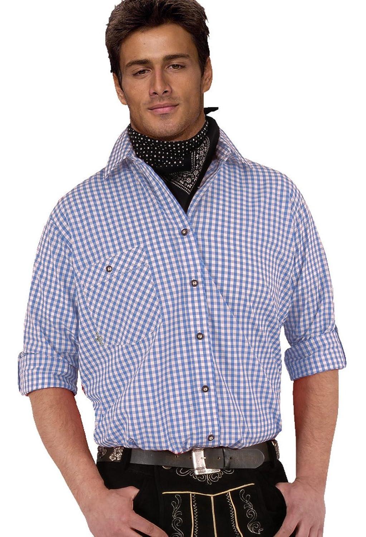 Top-Quality Trachtenhemd Herren - Blau-Karo/kariert - Langarm/Kurzarm - Komfort Reine Baumwolle - bügelfrei easy-care