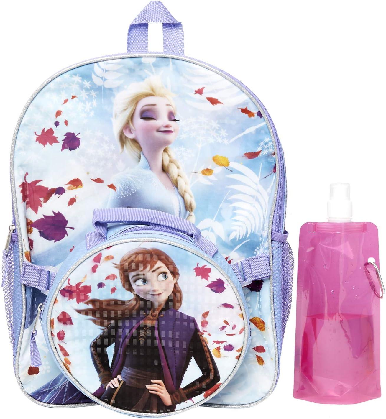 "Disney Frozen Elsa Anna 16/"" Large School Backpack Lunch Bag 2pc-Snowflake Purple"