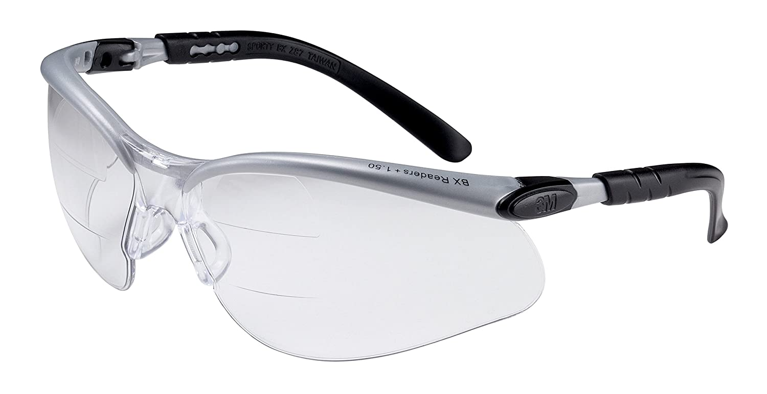 3M BX Dual Reader Protective Eyewear 11457-00000-20 Clear Anti-Fog Lens, Silver/Black Frame, +1.5 Top/Bottom Diopter