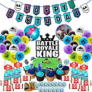Video Game Party Supplies Gaming Llama Party Decoration Boys Birthday Party Favors 105Pcs Kit - Balloons, Banner, Cake Cupcake Topper, Bottle Label, Chocolate Sticker, Roll Paper Stickers