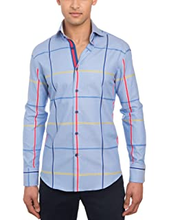 f5baa7f9 HAWES & CURTIS Mens Curtis Blue & Red Large Plaid Slim Fit Shirt - High  Collar