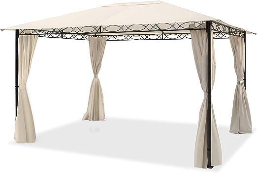 TOOLPORT Cenador de jardín 3x4 m cenador Impermeable con 4 Piezas Laterales Carpa de jardín 180g/m² Lona de Techo en Carpa de Fiesta Beige: Amazon.es: Jardín