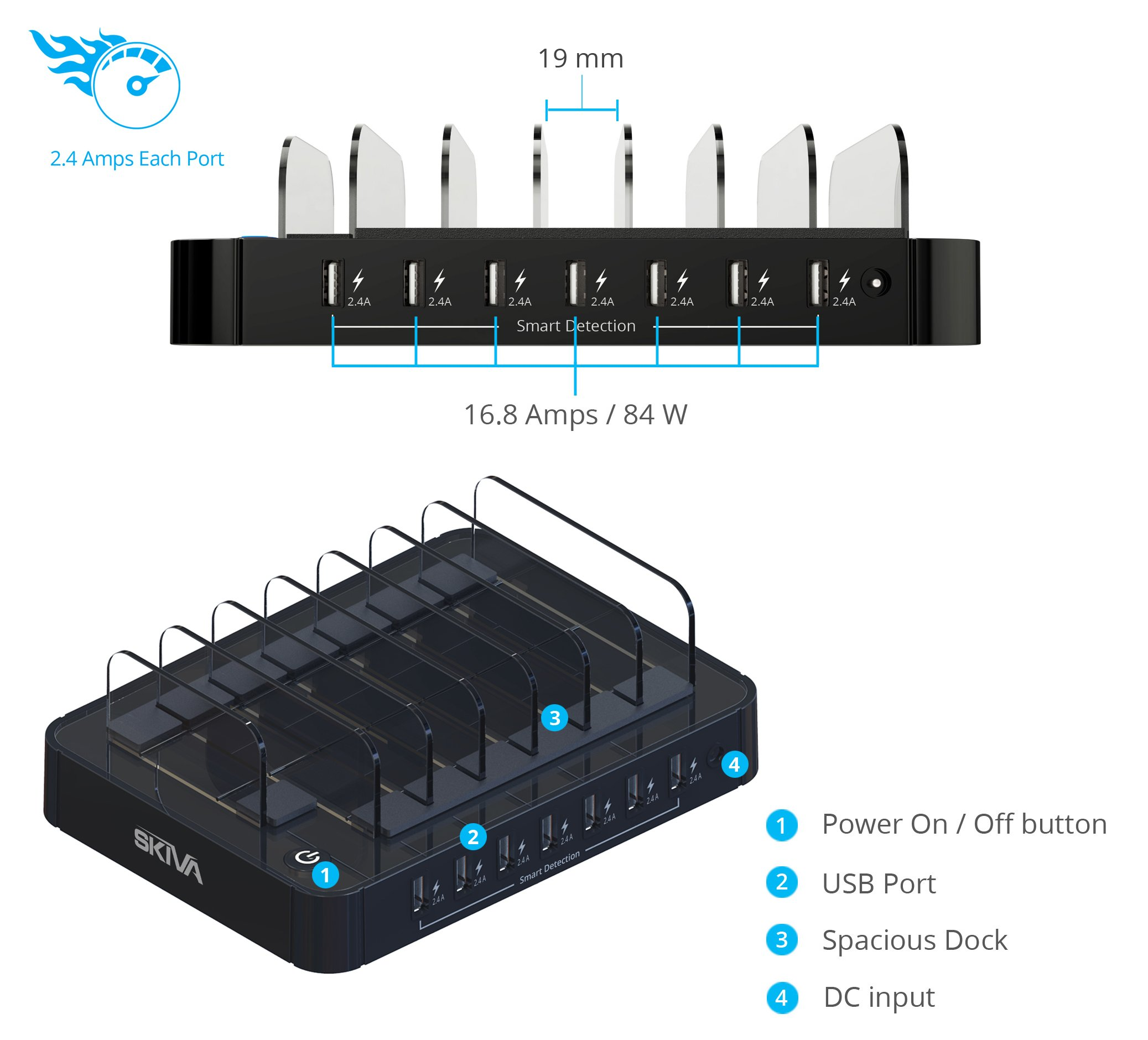 Skiva StandCharger 7-Port 84-Watts AC/Wall Charging Station with Fast 2.4 Amps Smart USB Ports for iPad Pro Air mini, iPhone X 8+ 8 & more (7 x Short Apple MFi Lightning Cables Included) [Model:AC123] by SKIVA (Image #10)