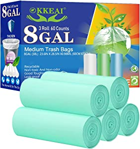 OKKEAI Medium Garbage Bags Biodegradable Trash Bags 8 Gallon Thicker 0.98 MIL Trash Bags Recyclable Bags for Garden, Patio,Home ,Kitchen, Lawn,60 Count,Light Green (Fits 7-10 Gallon Bins)