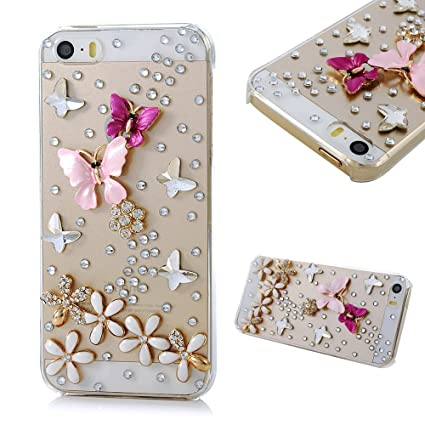 size 40 19878 0ffb9 Iphone SE Case,Iphone 5S Case,Iphone 5 Case -Mavis's Diary 3D Handmade  Crystal Butterfly Lingers Over The Flower Rhinestone Diamond Bling Clear  Hard ...