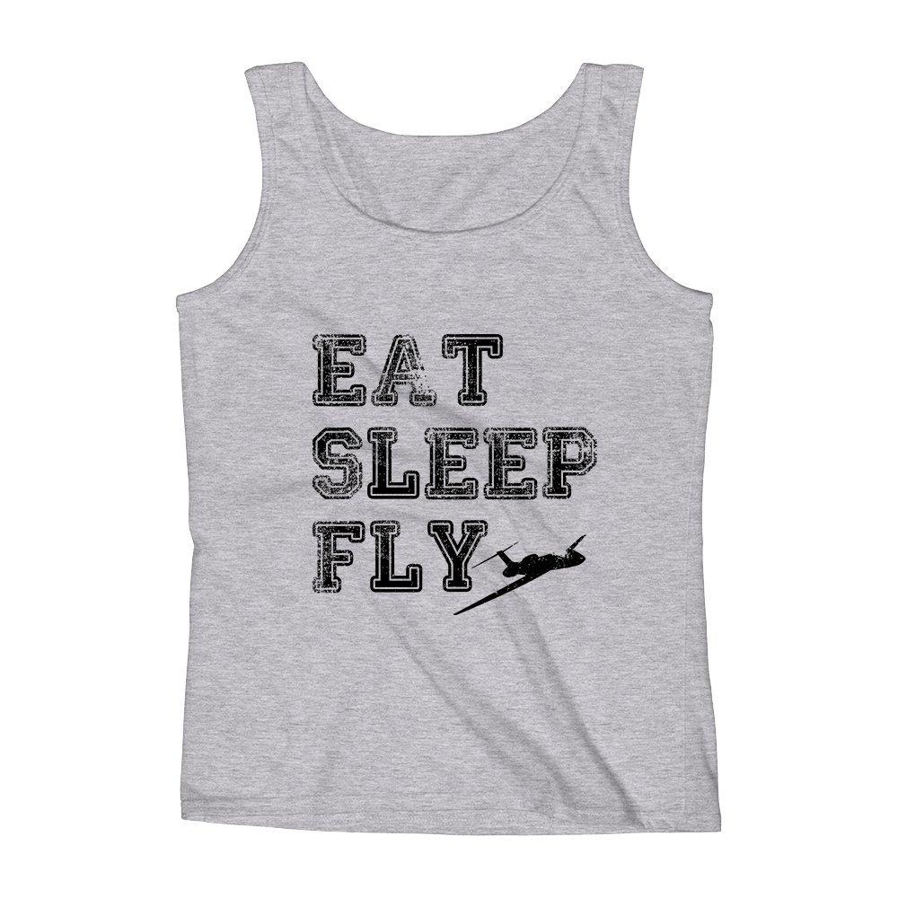 Mad Over Shirts Eat Sleep Fly Unisex Premium Tank Top