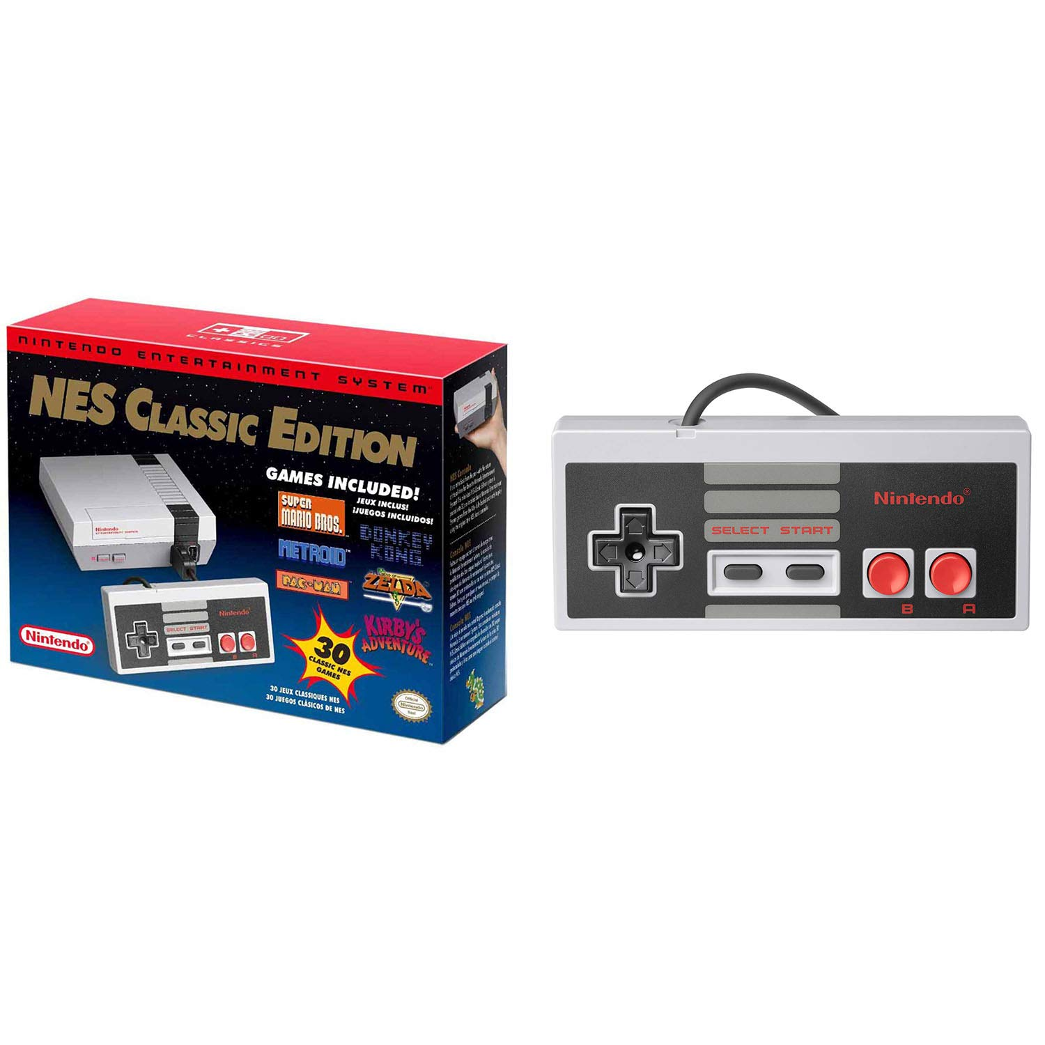 Nintendo NES System Classic Edition W/ 30 Pre-Loaded Games and Extra Controller