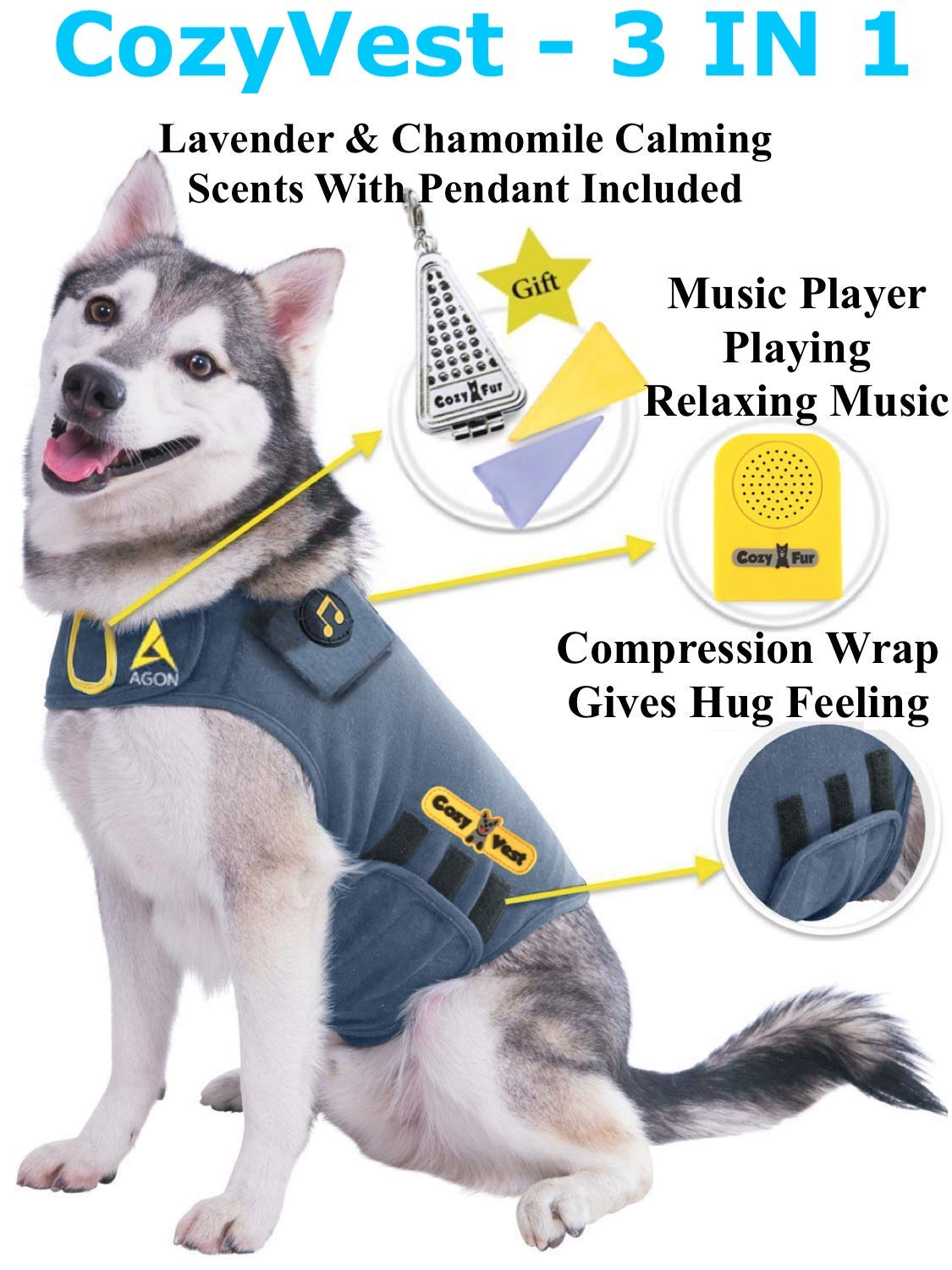 CozyVest Music & Aromatherapy Patented Dog Anxiety Vest Calming Scent Treats Canine Stress Relief Thunderstorm Fireworks Separation Pet Travel Thunder Storm Shirt Jacket Coat (Gray, XXS (Up to 7 Lbs)