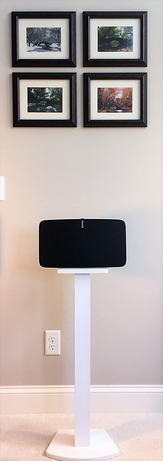 Beautiful Wood Speaker Stand Handcrafted Compatible for SONOS Play 5 2nd Generation Made in U.S.A. Single Stand. White.