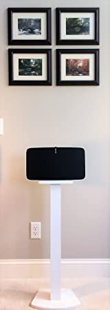 Beautiful Wood Speaker Stand Handcrafted Compatible SONOS Play 5 2nd Generation Made in U.S.A. Single Stand. White.