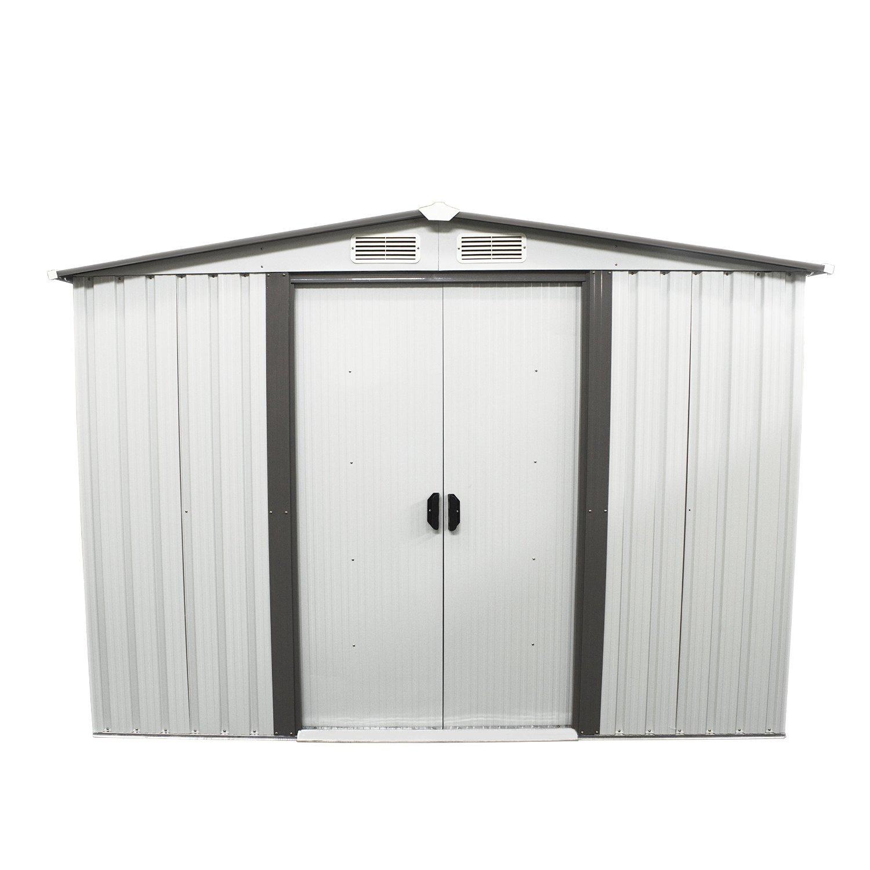 Bestmart INC New 6' x 8' Outdoor Steel Garden Storage Utility Tool Shed Backyard Lawn Building Garage with Sliding Door