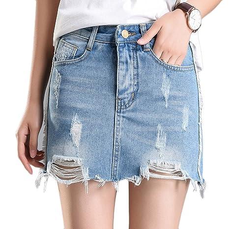 great fit 60e13 38657 Donne Vita Alta Gonna Corta Jeans Strappato Con Fodera ...