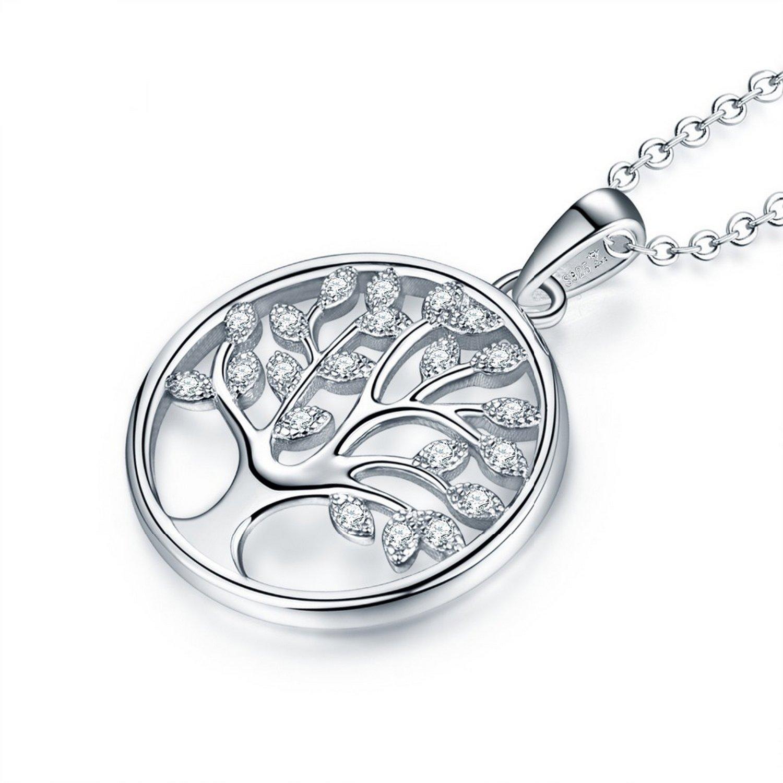 CS-DB Pendants Trendy Round Tree Silver Necklaces