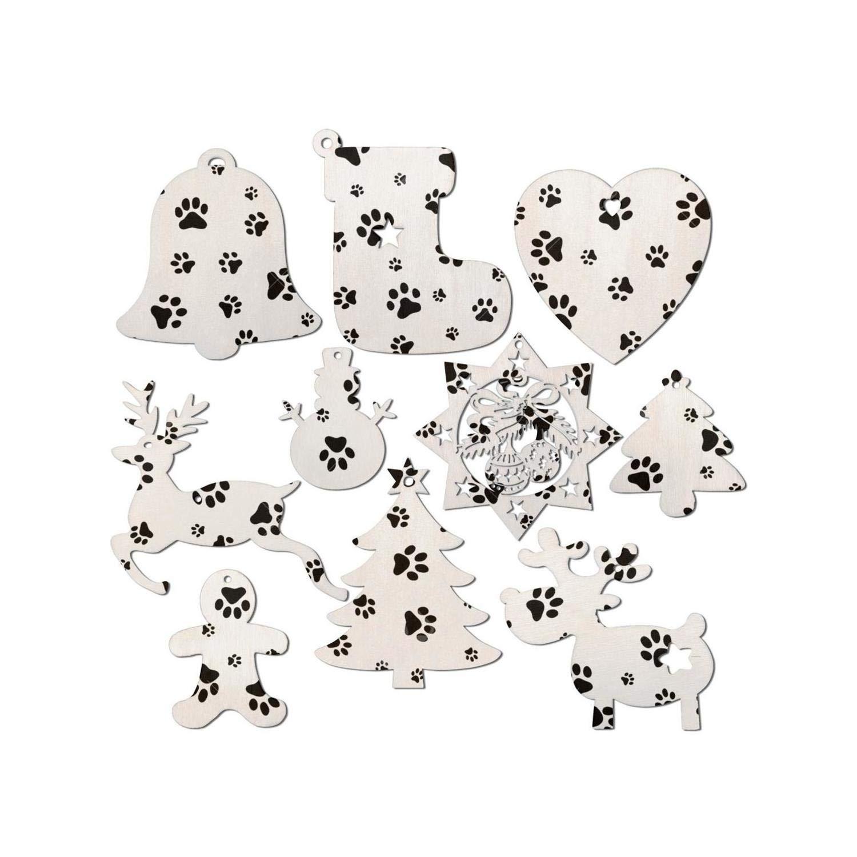 Amazonde Woaimuziling 10 Stück Hund Fußabdruck Weihnachten