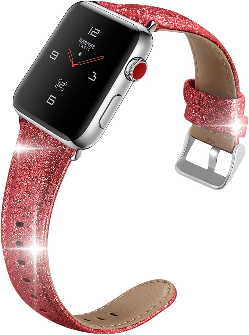iHillon Compatible with Band Apple Watch 42mm/44mm 38mm/40mm Series 5 Series 4, Glittering Soft TPU Shiny Bling Genuine Leather Strap, Women Men