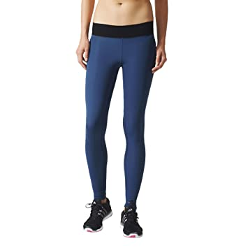 sports shoes 3fe44 febef adidas Wo Long Tight Collant Femme, Bleu Noir, FR (Taille Fabricant