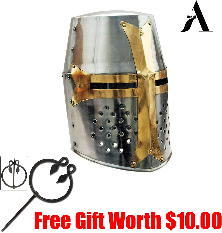 annafi ® Crusaderヘルメット中世メタルナイトヘルメット+ライナー  Cheap十字軍ヘルメットウェアラブルfor Adult。GREAT中世コスチューム