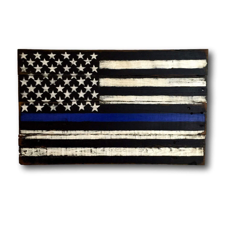 Cwb2jcwb2jcwb2j Thin Blau Blau Blau Line Wood Flag - Police Officer Gift - Police Officer Decor - Police Officer Sign - Police Academy Graduation Gift - Cop Gift 5f01a2