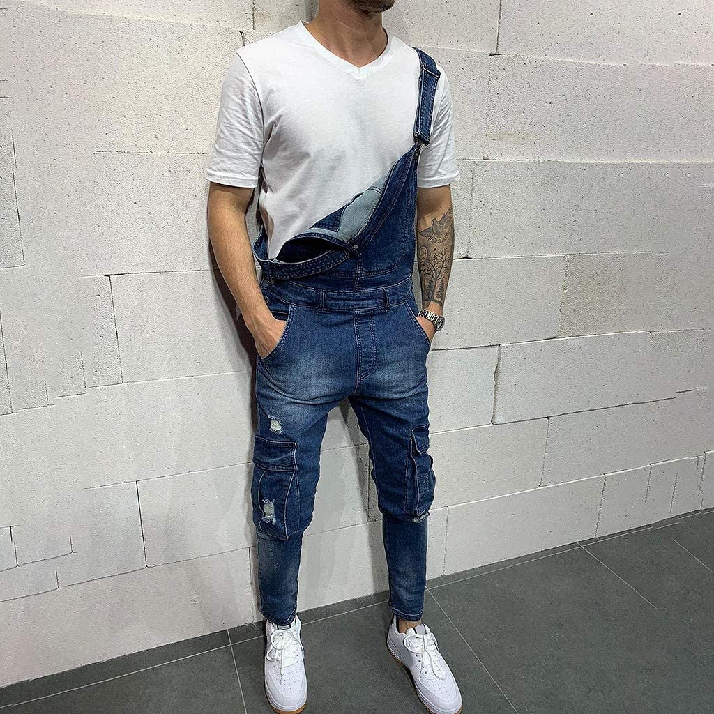 HOTSELL〔☀ㄥ☀〕Dungarees Men Mens Denim Trousers Bib Overalls Dungarees Stonewash Jeans Jumpsuits Trousers Dungarees Work Workwear Student Dungaree Overalls for Man