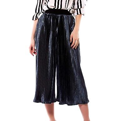 Saoye Fashion Pantalon Palazzo Femme Taille Haute Plissé Pantalon Large  Élégant Mode Vêtements Pantalon Loose 7 5a7355755779