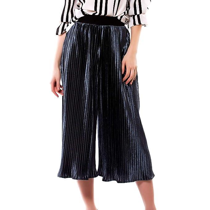 ac0ba6fa1eeb9 Pantalones Palazzo para Mujer Plisada Alta Cintura Pantalones Anchos Simple  Estilo De La Pierna Elegante Moda Suelta Pantalones 7 8 Pantalones Casuales  ...