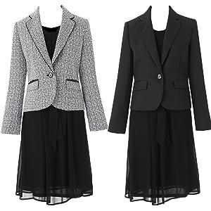 [アンジェリカ] 2枚 ジャケット ワンピース スーツ 卒業式 スーツ 母 ママ 入学式 スーツ 母 ママ A 黒白 11号 [P80192-11]
