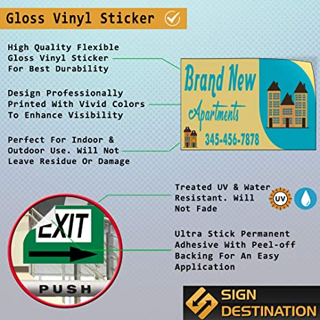 Custom Door Decals Vinyl Stickers Multiple Sizes Brand New Apartments Phone Number Business Brand New Apartment Outdoor Luggage /& Bumper Stickers for Cars Yellow 28X20Inches Set of 5