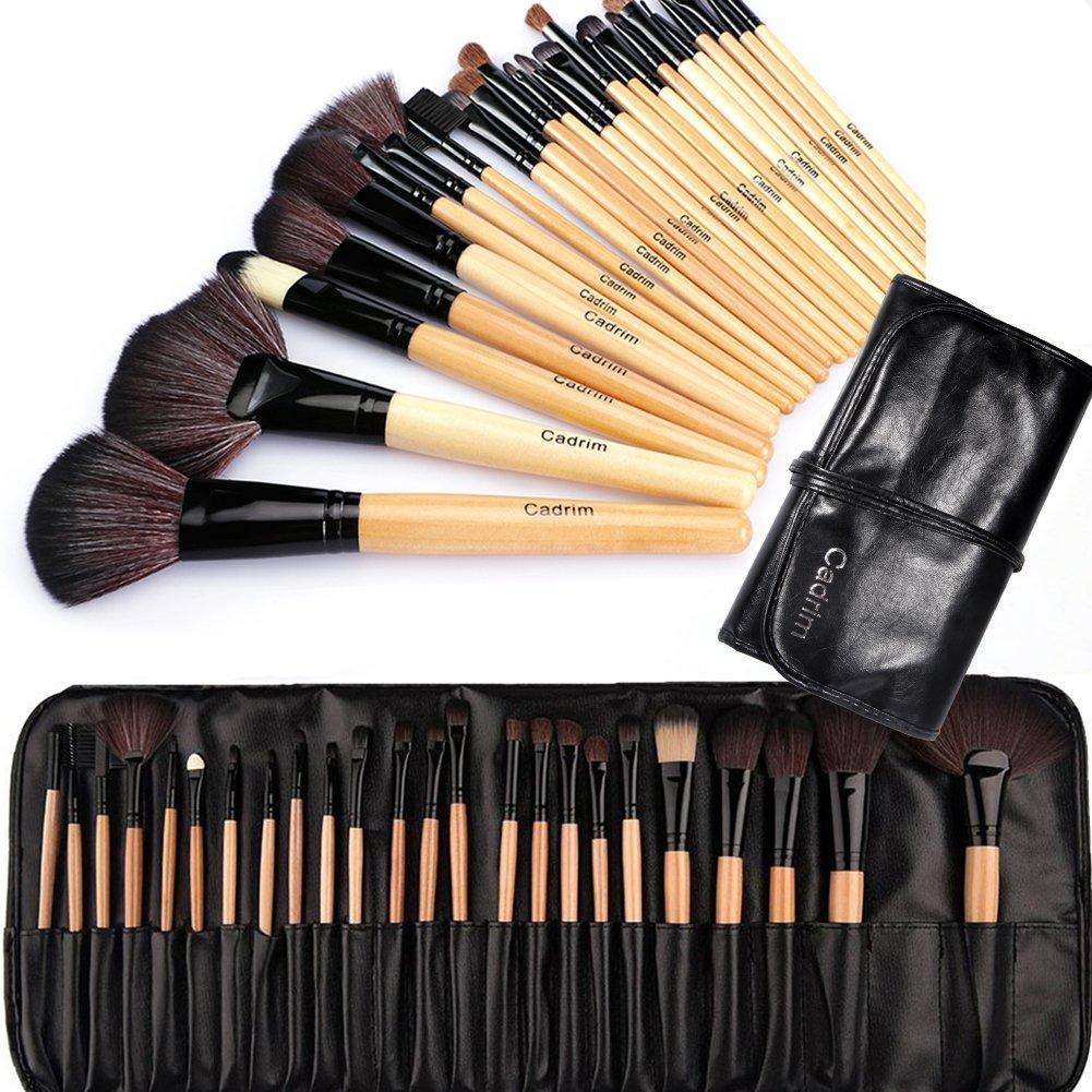 Make up Brushes, Cadrim 24 pcs Natural Hair Professional Makeup Brush Set Travel Makeup Brush Kit with Case (burlywood)