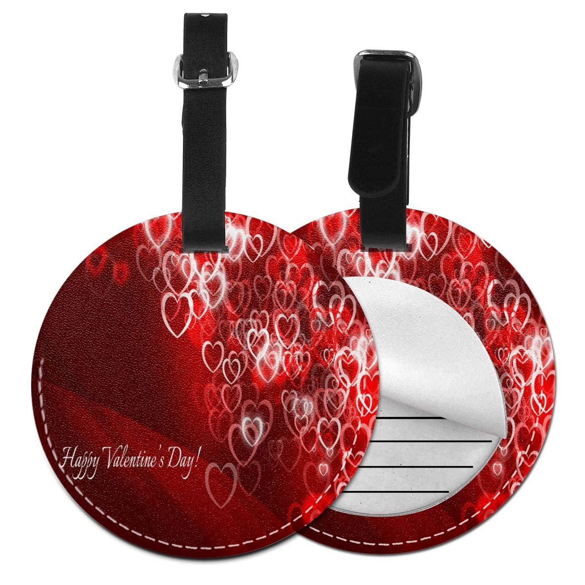Love Happy Valentine's Day Designer Round Luggage Tags Suitcase Labels Bag Travel Accessories Tough 4 Pack by Rachel Dora
