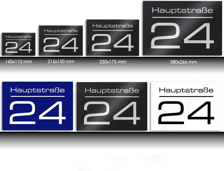 Edelstahl UV-best/ändig Gr/ö/ßen Hausnummer Hausnummernschild mit Beschriftung Stra/ßenname//Name und Wunsch-Nummer ver