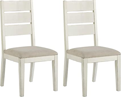 Amazon Com Signature Design By Ashley Grindleburg Dining Room Chair Set Of 2 Antique White Chairs