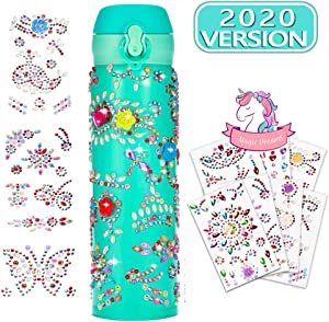 ELEBOOT Create Your Water Bottles with Tons of Rhinestone Glitter Gem Stickers, Reusable BPA Free 17 oz -Stainless Steel Vacuum Insulated Mug Fun DIY Art and Craft for Kids ,Gift for Girls (Blue)