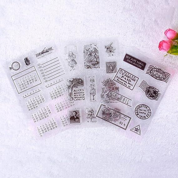 Calistouk Sello de goma con imagen con emblema creativo transparentede sello para decoración artesanal álbum de scrapbooking DIY