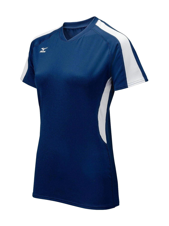 Bleu marine blanc XS Mizuno pour Femme Techno Volley IV Maillot à Manches Courtes