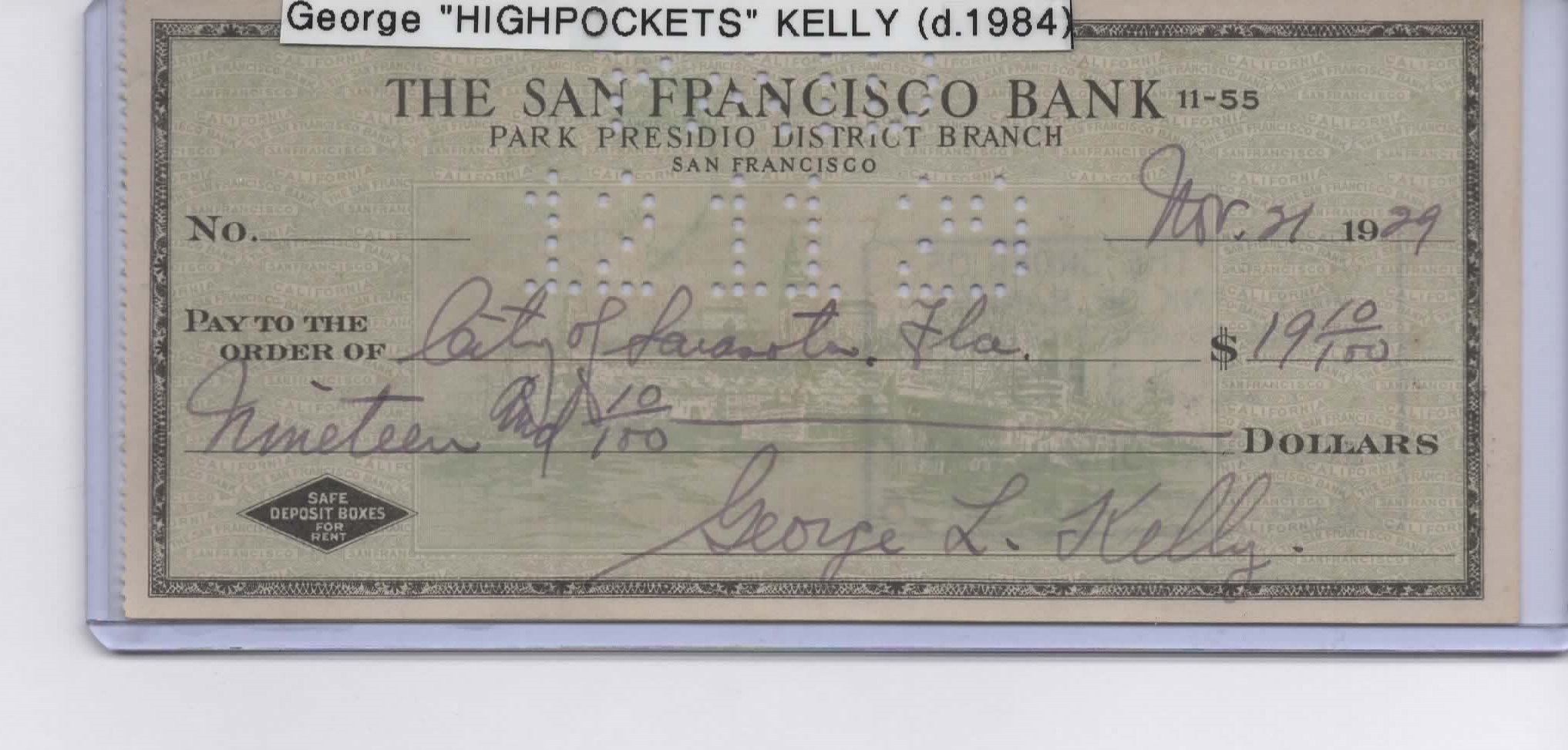 GEORGE KELLY SIGNED PERSONAL CHECK NEW YORK GIANTS HIGH POCKETS