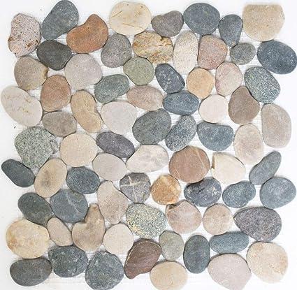 Mosaico Piastrelle Ciottoli Piatto Mix Beige Grigio Nero