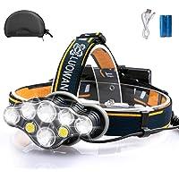 Rechargeable Headlamp, LED Headlamp Flashlights, 8 LED 8 Modes 18650 USB Rechargeable Head Lamp, Waterproof Running…