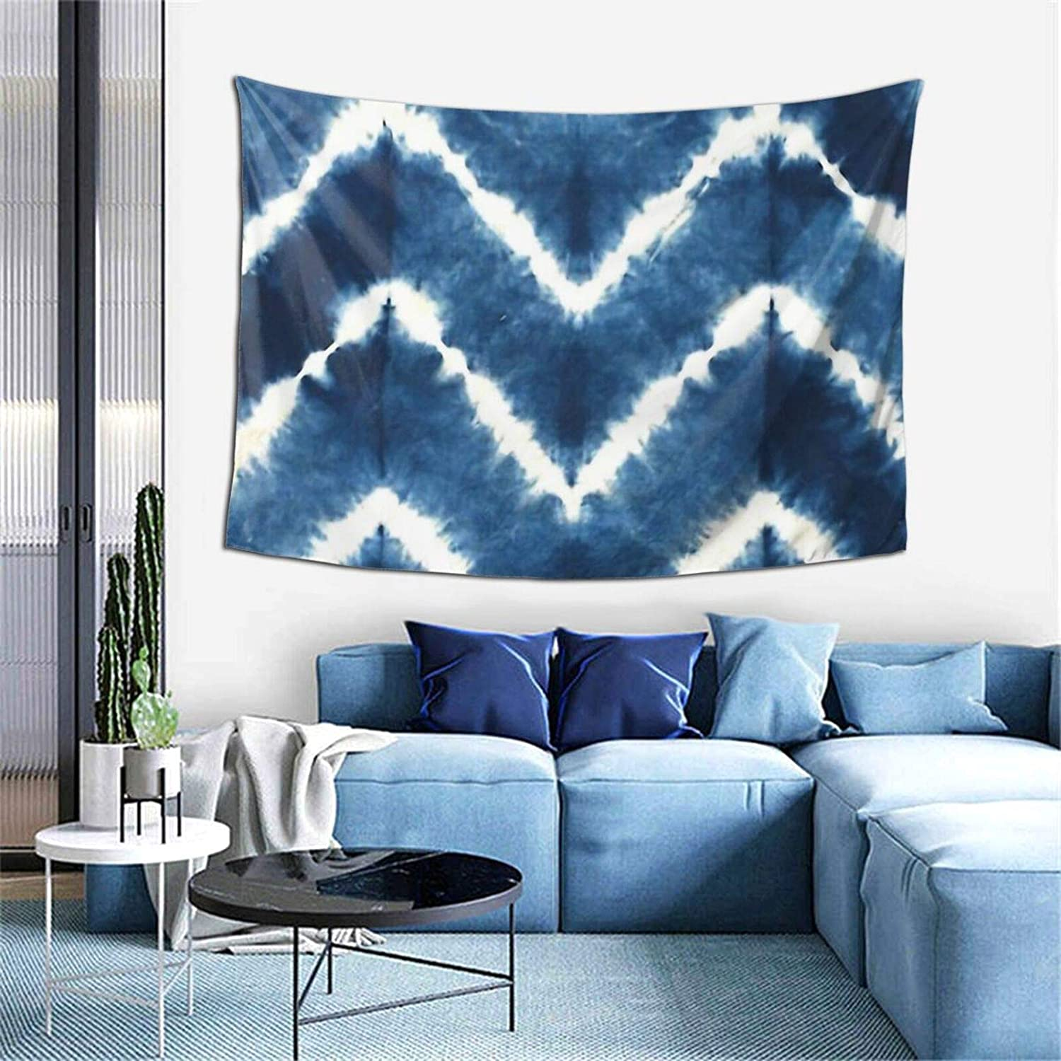Navy and White Tie Dye Stripes Printed Tapestries Wall Hanging for Living Room Home Decor 60inX40in