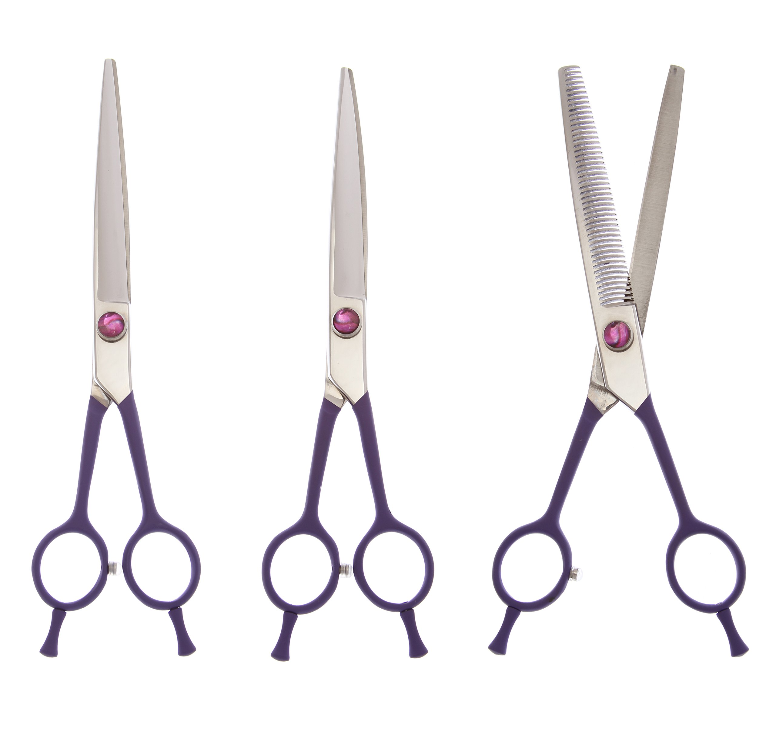 ShearsDirect 3 Piece Japanese Stainless Steel Straight, Curved and 46 Teeth Shear Set, 7.5'' by ShearsDirect