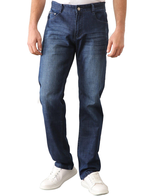Trensom Men's Stretch Straight Leg Regular Fit Denim Jean Pants Comfort Work Dungarees Blue Size 33