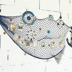 Flesser Decorative Fish Net Mediterranean Style Fish Netting Fish Net Decorations for Wall(79 x 59 inch Blue)
