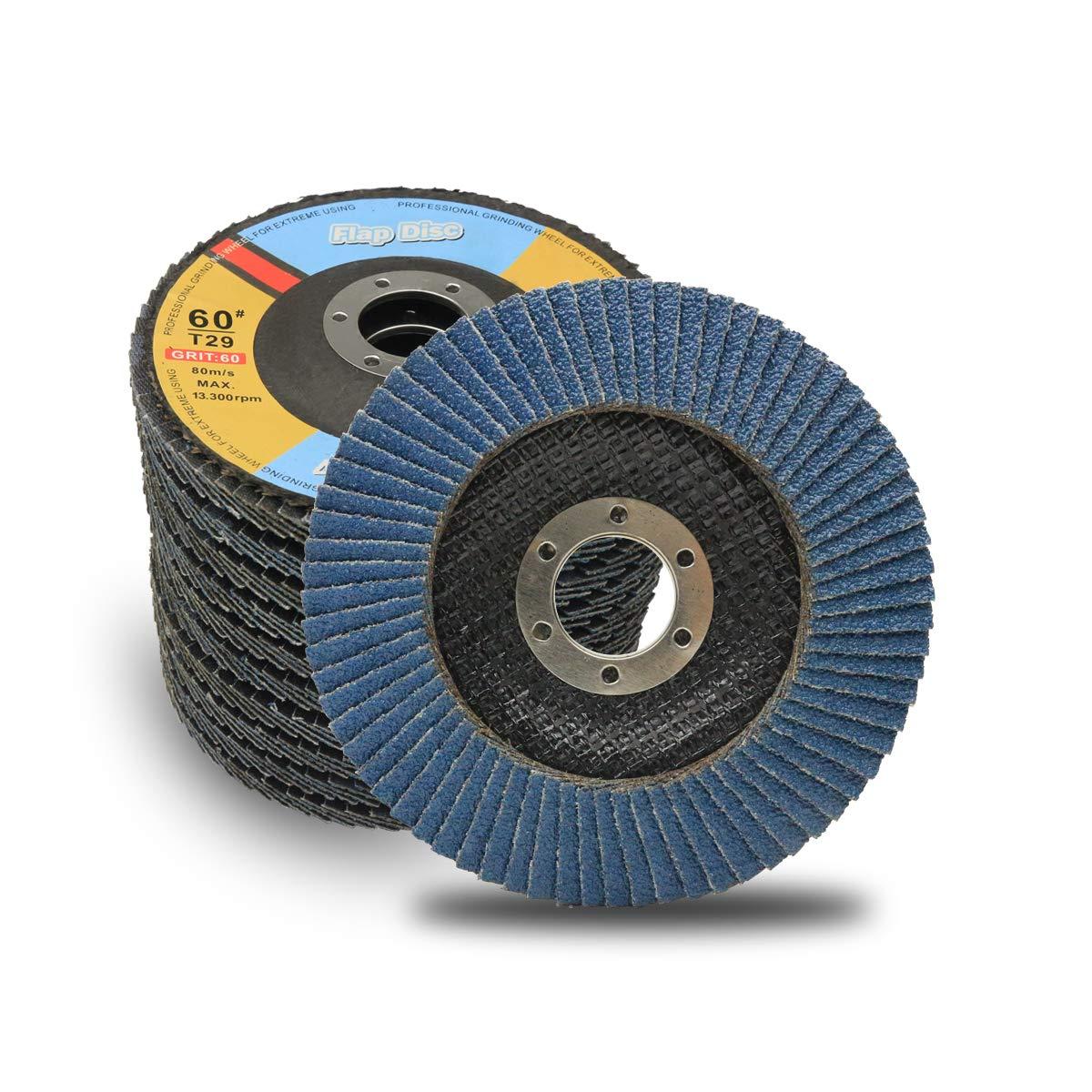 "5 Pack 4.5/"" x 7//8/"" Black Hawk 120 Grit Zirconia Flap Disc Grinding Wheels T29"