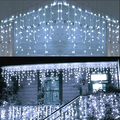 Cool White Outdoor Curtain String Light 32 Ft 10 Ft LED String lights Wave Ripple Pattern Extra Long Wedding Party Home Garden Bedroom Indoor Wall Decorations, Cool White light curtain by BestCircle