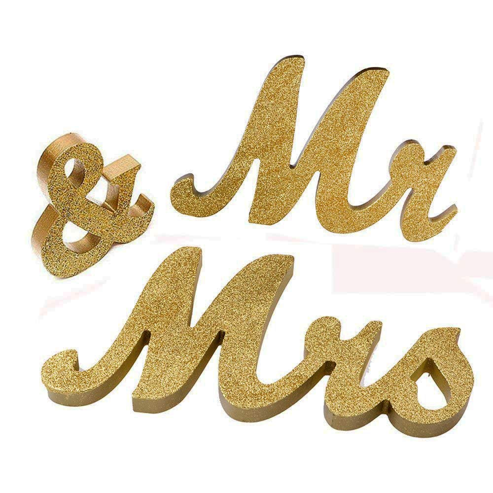 Anthone Amo Mr and Mrs Signs Wedding Sweetheart Table Decorations, Wooden Freestanding Letters Wedding Shower Gift (Gold)