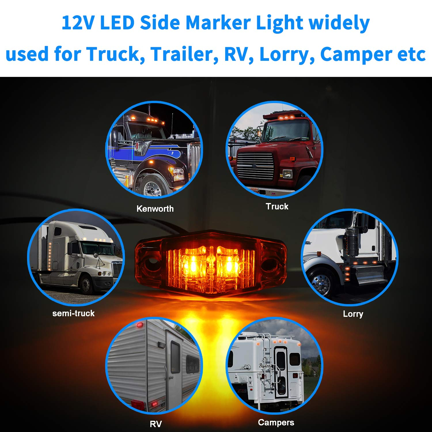 2.5 Inch Waterproof Mini Surface Mount Clearance Identification Lights for Truck Trailer Boat Camper RV Donepart Amber Red Marker Lights Oval LED Fender Lights