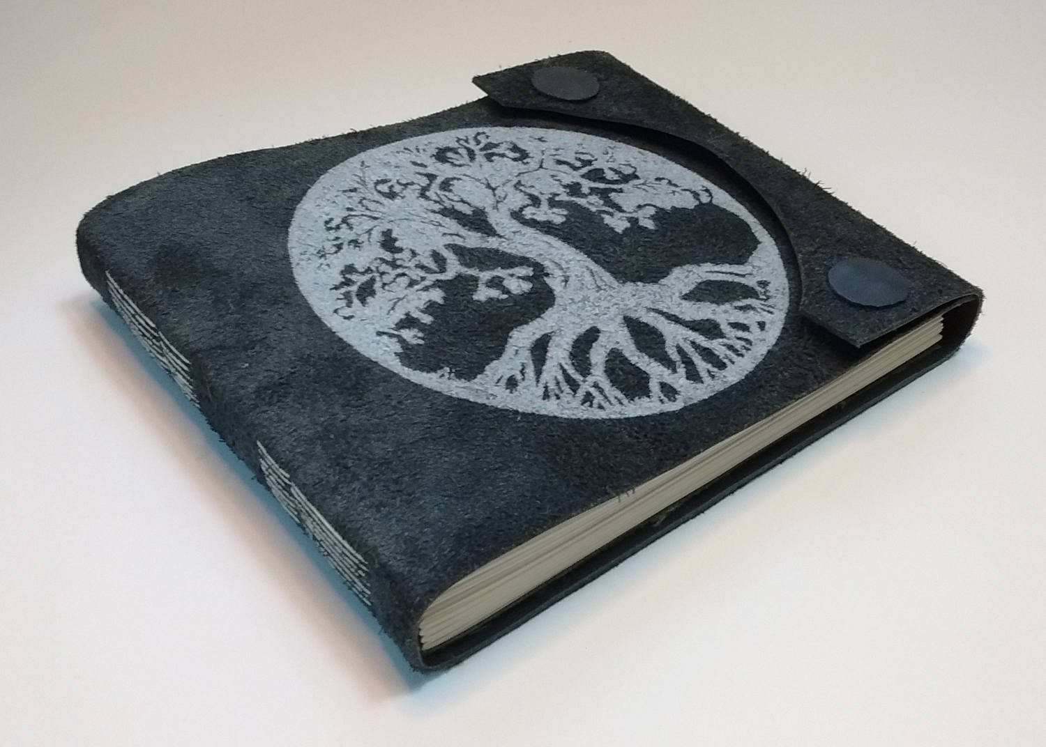 Hand-made leather-bound book with Tree-Of-Life art hand-printed on cover, magnetic snap closures