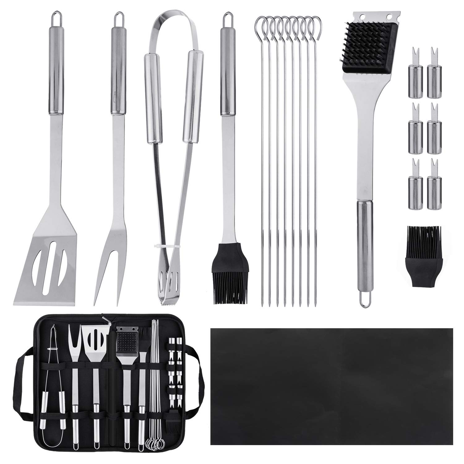 BEBANG BBQ Grill Tool Set, Professional Stainless Steel Barbecue Grill Accessories for Backyard Barbecue, Picnics, Parties, Outdoor Grilling and Cooking