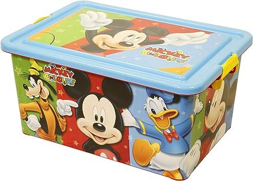Mickey Mouse Contenedor 23 litros con Tapa y Cierres, Caja organizadora (STOR 04486): Amazon.es: Juguetes y juegos