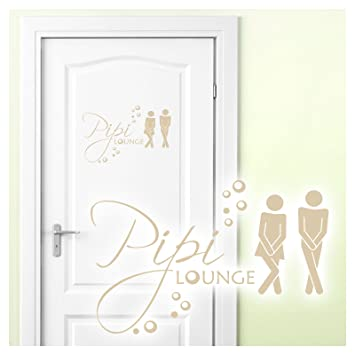 Grandora Wandtattoo Sprüche Pipi Lounge Mann Frau I beige 27 x 18 cm I WC  Türaufkleber Piktogramm Bad Badezimmer Wandaufkleber Wandsticker W755